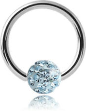Surgical Steel Micro Ball Closure Ring With Epoxy Coated Crystaline Jeweled Ball