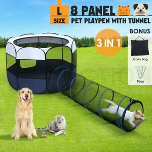 144cm Pet Playpen Tent 8 Panels Portable Puppy Dog Cat Kennel Crate Cage Tunnel