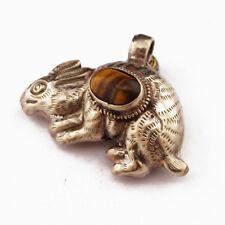 Tiger Eye Rabbit Pendant Silver Plated Tibetan Chinese Zodiac Tibet Nepal UP1022