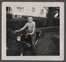 VINTAGE PHOTOGRAPH YOUNG BOY ON NEW MOTORCYCLE MOTOR-BIKE OLD BIKE PHOTO