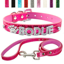 Rhinestone Personalized Pet Dog Collar & Leash Set Free Name Charm Engraved XS-L