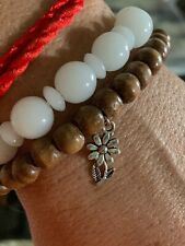 Compassion Daisy Silver Mini Flower Wood Beaded Stretch Bracelet Mala Yoga