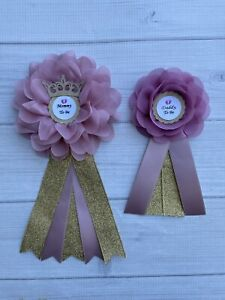 Dusty Pink And Gold Princess Baby Shower Corsage ,Mommy & Daddy Corsage Set