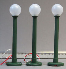 LIONEL GLOBE LAMPS 3 PK lighted lamp post lighting green plastic o gauge 6-37173