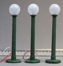 LIONEL GLOBE LAMPS 3 PK lighted lamp post lighting green plastic o gauge 6-37173
