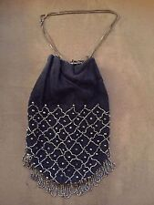 Vintage Beaded Victorian Bag Purse – BLUE w Markasite Beads –see pictures