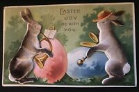 Humanized Felt~ Rabbits Playing Musical Instruments~Novelty~Easter Postcard-p519