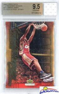 2003 UD Freshman #37 Lebron James RC+Game Used High School Jersey BGS 9.5 GEM
