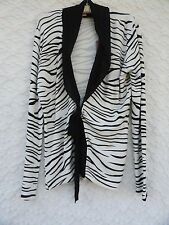 RED New Knit Misses L Rayon Rich Black White Zebra Print Tie Front nwt