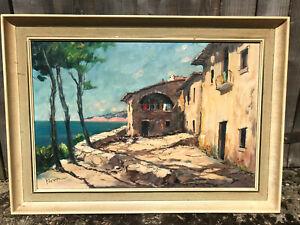 Antique Mediterranean Framed Landscape Painting Oil, Greek? Italian? Decorative