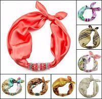 CHOOSE COLOR! Silk Kerchief with Beaded Element Estelle 45x45cm