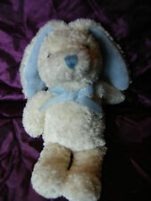 """BABYBLOOMS CREAM AND BLUE BUNNY RABBIT SOFT TOY WITH SQUEAKER 10"""""""