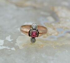 Antique Rose Gold Ruby and Diamond Ring Size 7.75 Circa 1900