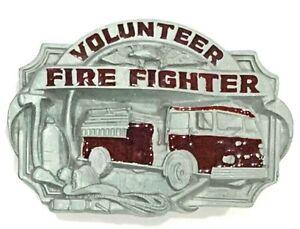 Volunteer Fire Fighter Siskiyou 1989 Fire Truck Enameled Belt Buckle