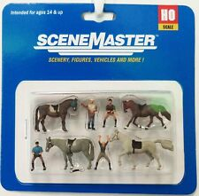 HO Scale Walthers SceneMaster 949-6027 Horses & Riders Figure Set (8) pcs