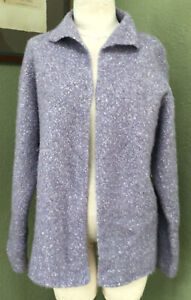 Eileen Fisher Size L Lavender Open Alpaca Wool Silk Cardigan Sweater Jacket