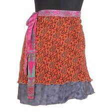 SWS101 Vintage Silk Sari Magic Wrap Around Short Skirt Dress