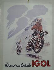 AFFICHE ANCIENNE MOTO HUILE IGOL MARCEL CHAUVEAU 1955