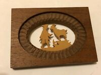 VTG Miniature Wood Frame Art Carving of Colonial Figure & Goat Silhouette