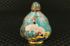 Antique chinese old cloisonne hand painting crane figure snuff bottle home deco