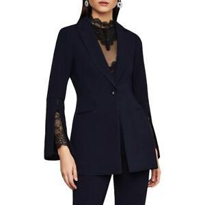 BCBGMAXAZRIA Womens Woven Faux Leather Trim Office Wear Blazer Jacket BHFO 0507