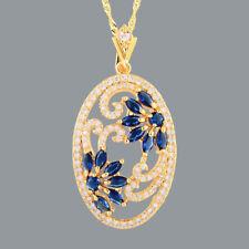 Brass Pendant CZ 18K Yellow GP Blue Sapphire Marquise Cut N Free Chain
