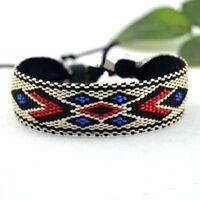 Unisex Cotton Jewelry Rope Colorful Ethnic Wrap Woven Bracelets Handmade