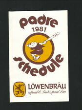 San Diego Padres--1981 Pocket Schedule--Lowenbrau