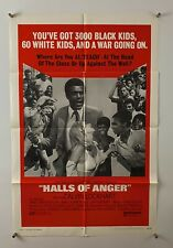 HALLS OF ANGER Movie Poster (Fine) One Sheet 1970 Blaxploitation 5372