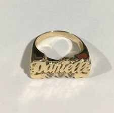 14k Two Tone Gold Custom Danielle Name Ring With Diamonds
