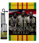 Proudly Served Garden Flag Armed Forces Service Decorative Yard House Banner