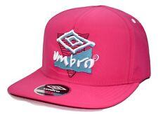 Umbro Soccer Adjustable Retro Logo Pink Strapback Flat Bill Football Cap Hat
