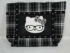 NWT Women's Punk Rock Cat Gray & Black Plaid Rockabilly Leopard Large Bag Purse