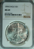 1994 American Eagle Dollar / One Troy Ounce .999 Pure Silver / NGC MS69