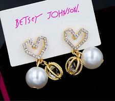 Gold Love Heart pearl Earring Jewelry New Betsey Johnson rare Alloy Rhinestone