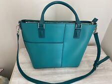 Vera Bradley Teal Composition Tote Faux Leather Handbag Purse