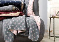 IBENA Oversized Reversible Jacquard Woven Cotton Blend Throw Blanket Stars