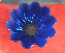 grande coupe à fruits punch verre bleu festonne forme fleur jatte