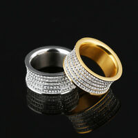 5 Rows CZ Silver Yellow Gold GP Stainless Steel Wide Band Ring Size 7 8 9 10 11