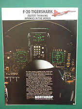 2/1984 PUB NORTHROP F-20 TIGERSHARK US AIR FORCE USAF AVIONICS COCKPIT AD