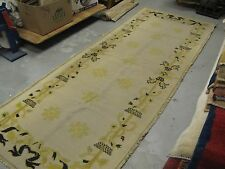 """Vintage Portuguese Needlepoint Rug Runner Gallery Size 100%  Wool  3'-3"""" x 8'-9'"""