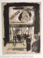 Grau Sala Litografia Originale Marlene Dietrich Gary Cooper Rara da Collezione