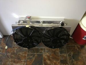 """TWIN 14"""" THERMO FANS & ALLOY SHROUD suit Holden V8 & Chev V8 HR - HZ"""
