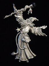 """JJ"" Jonette Jewelry Silver Pewter 'Jeweled Wizard Serpent Staff' Pin"