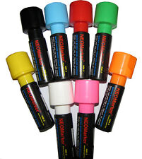 "8 Neon Waterproof Smudgeproof Windshield Liquid Markers 1 1/4"" Wide Tip"