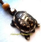 Men Women Longevity Symbol Turtle Yak Bone Pendant Adjustable Cord Necklace