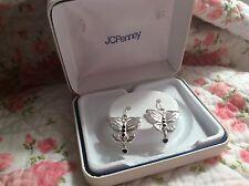 Sterling Silver Black Butterfly Earrings NIB Dangle Gift JCPenney FREE SHIPPING