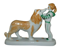 Dulevo Russian Porcelain Figurine Girl With Dog Made In USSR