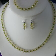 Beautiful Set With Rutile Jade And Peridot Beads 925 Silver Clasps And Hooks