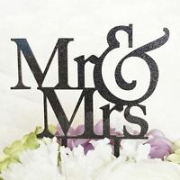 MR and MRS Glitter Black Acrylic Cake Topper Laser Cut Bride Groom Wedding Cake